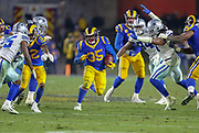 Jan 12, 2019; Los Angeles, CA, USA;  Los Angeles running back C.J. Anderson (35) carries the ball against the Dallas Cowboys during an NFL divisional playoff game at the Los Angeles Coliseum. The Rams beat the Cowboys 30-22. (Kim Hukari/Image of Sport)