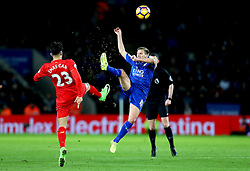 Marc Albrighton of Leicester City and Emre Can of Liverpool challenge for the ball - Mandatory by-line: Robbie Stephenson/JMP - 27/02/2017 - FOOTBALL - King Power Stadium - Leicester, England - Leicester City v Liverpool - Premier League