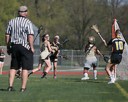 Honeoye-Falls Lima scores a goal during a game against Rush-Henrietta High School on Thursday, May 7, 2015.