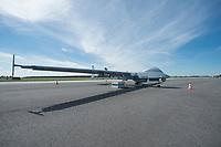 16 MAY 2014, BERLIN/GERMANY:<br /> Heron 1 Drohne (UAV), allwetterfaehige Aufklaerungsdrohne des israelischen Herstellers Israel Aerospace Industries (IAI), von den israelischen Luftstreitkraeften Machatz-1 genannt, Internationale Luftfahrt Ausstellung, ILA, Flughafen Schoenefeld<br /> IMAGE: 20140516-01-001<br /> KEYWORDS: Flugzeug, plane, Luftwaffe, Bundeswehr