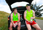 Matt Todd and Johnny McNicholl of the Crusaders rugby team after a pre-season training running up Mount Pleasant Road eventually finishing at the Summit Road above Mt Pleasant, Christchurch. 5 December 2014 Photo: Joseph Johnson/www.photosport.co.nz