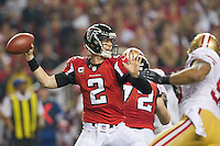 20 January 2013: Quarterback (2) Matt Ryan of the Atlanta Falcons passes the ball against the San Francisco 49ers during the second half of the 49ers 28-24 victory over the Falcons in the NFC Championship Game at the Georgia Dome in Atlanta, GA.
