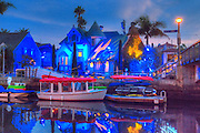 Naples Canals; Belmont Shore; Long Beach; CA, Houses, Lit, Blue Sky, Water Reflections,