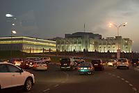 10 APR 2013, DOHA/QATAR<br /> Aussenansicht, Palast des Emirs von Katar, von der Corniche aus gesehen<br /> IMAGE: 20130410-01-078<br /> KEYWORDS: Katar, Palace, Abend, abends, Nacht, nachts