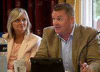 Elaine Geraghty (Screen Producers Ireland), Páidaí Ó Lionáird (TG4), at the 'Shaping Film Production in Ireland - the next 10 years' Panel Discussion at the Galway Film Fleadh, Galway Rowing Club, Galway, Ireland. Saturday 14th July 2018