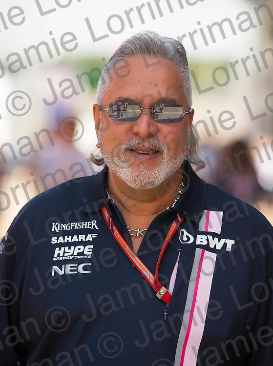 The 2018 Formula 1 F1 Rolex British grand prix, Silverstone, England. Friday 6th July 2018.<br /> <br /> Pictured: Force India team boss Vijay Mallya in the paddock at the British F1 Grand Prix, Silverstone.<br /> <br /> Jamie Lorriman<br /> mail@jamielorriman.co.uk<br /> www.jamielorriman.co.uk<br /> 07718 900288