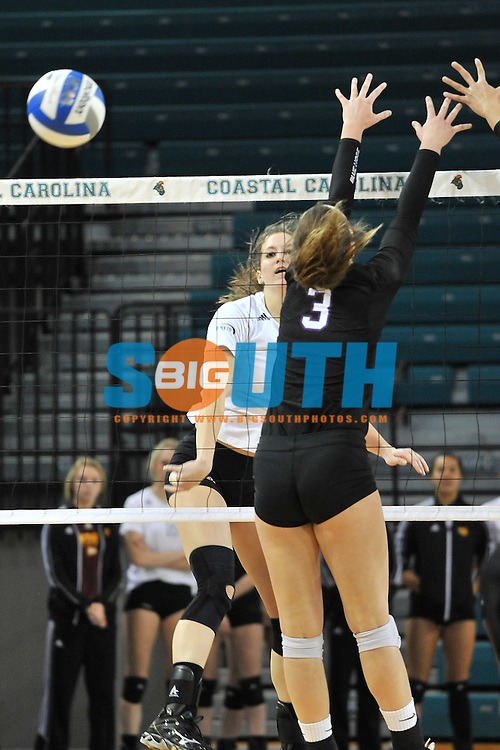 20 November 2014: The Big South Conference hosted their 2014 Quarter Finals of volleyball championship, Thursday at HTC Center Conway, South Carolina.  Presbyterian 0, Winthrop3. Credit: Todd Drexler/BigSouthPhotos.com