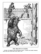 "The Bear-Pit of Europe. M. Blum. ""No need to get so excited, Adolf. I expect he's more worried about his own sore head than about you."" (the Russian bear rubs his head angrily and tears apart the 'Anti-Stalin Plot' as Hitler looks down from above the pit frightened)"