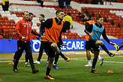 Charlton Athletic defender Jason Pearce  warming up during the EFL Sky Bet Championship match between Nottingham Forest and Charlton Athletic at the City Ground, Nottingham, England on 11 February 2020.