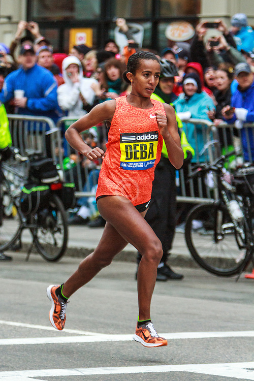 Boston Marathon: Buzunesh Deba with 200 meters to go