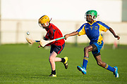 22/10/2016,  Cumann na mBunscol Primary School Finals at Trim.<br /> Game 8_Shield Hurling Final: St Pauls vs Rathbeggan<br /> Liam Corbett (St Pauls NS - Ratoath) & Emmanuel Osas (Rathbeggan NS)<br /> Photo: David Mullen /www.cyberimages.net / 2016<br /> ISO: 640; Shutter: 1/1250; Aperture: 4<br /> File Size: 2.7MB<br /> Print Size: 8.6 x 5.8 inches