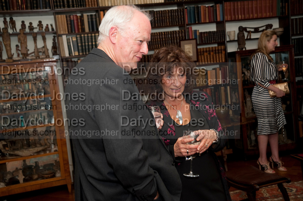 David Gilmour; Lisa Appignanese, Freud Museum dinner, Maresfield Gardens. 16 June 2011. <br /> <br />  , -DO NOT ARCHIVE-© Copyright Photograph by Dafydd Jones. 248 Clapham Rd. London SW9 0PZ. Tel 0207 820 0771. www.dafjones.com.
