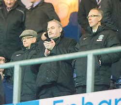 Hibs directors at he end.<br /> Falkirk 1 v 0 Hibernian, Scottish Championship game played 6/12/2014 at The Falkirk Stadium .