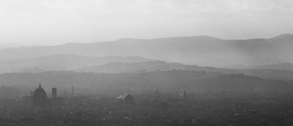 "Black and white photography from Florence Italy. A view over the city and the tuscan hills. This photo is available as open edition and limited edition giclee print in four sizes. Click on ""Get Print"" to see more details."