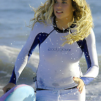 Eighth grader Kirra Kehoe, 13, (aka Shirley Good) practices paddleboarding at Santa Monica beach on Thursday, July 12, 2007 in preparation for the upcoming 2007 National Lifeguard Championships which will be staged at Myrtle Beach - South Carolina in August. Kehoe began competing when she was eight years old but started surfing as an infant with her father Sean Kehoe would  take her out with him. She is a four-time national surfing champion. Kehoe is also a singer-song writer, actress and model.