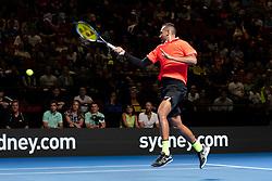 January 7, 2019 - Sydney, NSW, U.S. - SYDNEY, AUSTRALIA - JANUARY 07: Nick Kyrgios (AUS) hits a forehand at The Sydney FAST4 Tennis Showdown on January 07, 2018, at Qudos Bank Arena in Homebush, Australia. (Photo by Speed Media/Icon Sportswire) (Credit Image: © Steven Markham/Icon SMI via ZUMA Press)