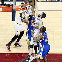 10 June 2016: Cleveland Cavaliers center Tristan Thompson (13) grabs the rebound over Golden State Warriors forward James Michael McAdoo (20) and Cleveland Cavaliers forward Kevin Love (0) during the Golden State Warriors 108-97 victory over the Cleveland Cavaliers, during Game Four of the 2016 NBA Finals at the Quicken Loans Arena, Cleveland, Ohio, USA.