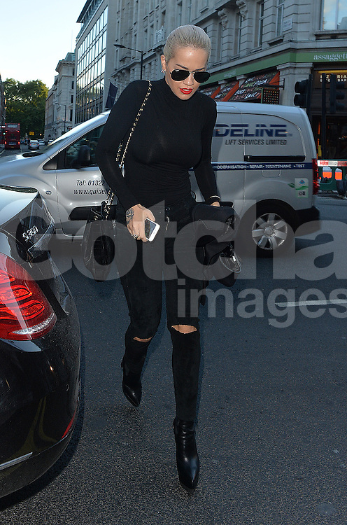 Singer Rita Ora enjoys a night out at the Theatre Royal Haymarket to watch The Elephant Man starring Bradley Cooper. London, UK. 29/05/2015<br />