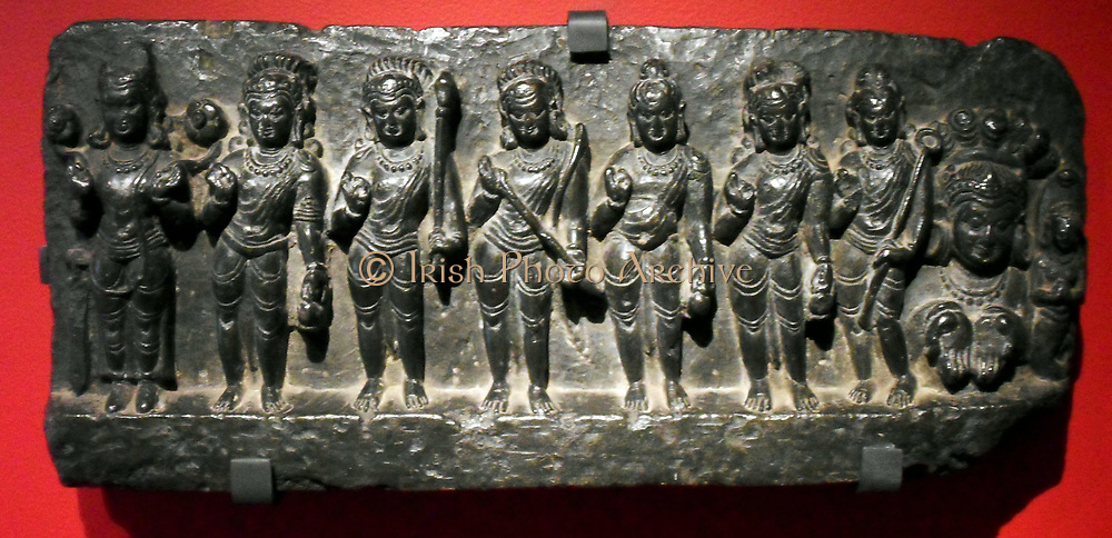 Planetary gods shown on an Indian stone relief, circa 1000-1200. The image depicts the nine planetary deities or Navagraha.