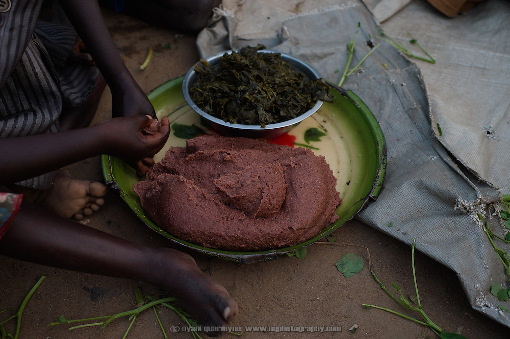 A small bowl of pumpkin leaves and some boiled sorghum flour will be dinner for a group of eleven adults and children at the home of Helen Katerina Francis in Gunyoro village in Eastern Equatoria, South Sudan on 9 August 2014. Helen's husband is a government soldier; she says that he has been away for a long time and provides no support to the family (locals indicate that soldiers frequently go unpaid), leaving her to fend for herself and their children and two elderly grandparents. Helen had been living with a brother who was helping to support them, but he recently passed away and the family is facing hard times—she described having fed them nothing but pumpkin leaves for the past week.