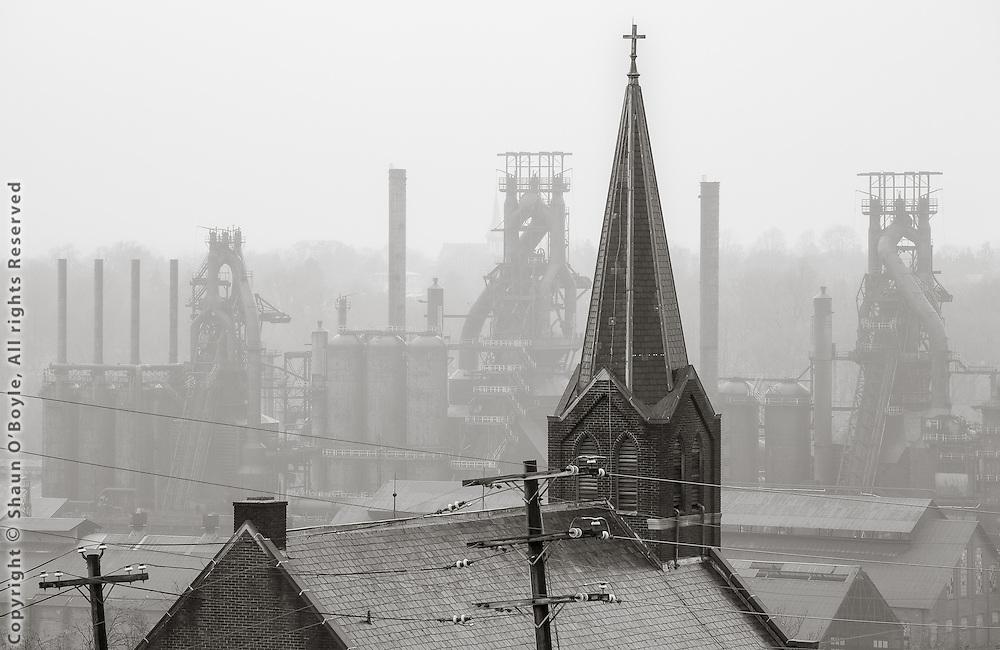 Church and Blast Furnaces, Bethlehem Steel Mill, Bethlehem, PA