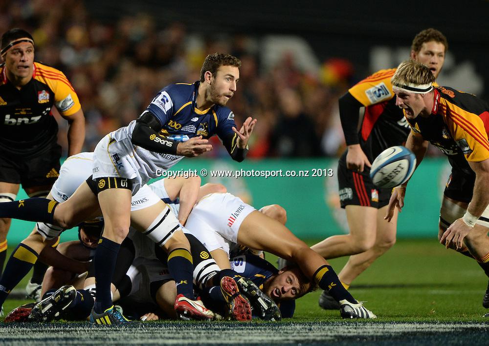 Nic White. Super Rugby Final. Chiefs v Brumbies. Waikato Stadium, Hamilton, New Zealand on Saturday 3 August 2013. Photo: Andrew Cornaga/www.Photosport.co.nz