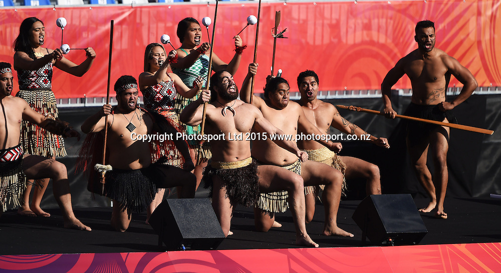 Maori welcome before the FIFA U20 World Cup match, New Zealand Junior All Whites v Ukraine. North Harbour Stadium, Auckland, New Zealand. Saturday 30 May 2015. Copyright Photo: Andrew Cornaga / www.photosport.co.nz