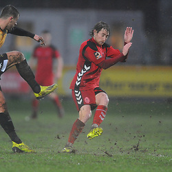 TELFORD COPYRIGHT MIKE SHERIDAN 26/1/2019 - James McQuilkin charges down a clearance during the Vanarama Conference North fixture between AFC Telford United and Southport at the Merseyrail Community Stadium