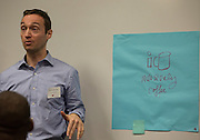Kostas Skordas, talks about his group's product during an activity at Startup Weekend Athens at the Ohio University Innovation Center on March 18, 2016.