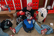 2006.02.02 HILLSBOROWRESTLER SPORTS : Hillsboro sophomore wrestler Dustin Carter packs his bags for their trip to Amelia High School for the meet against Wilmington and Amelia Thursday February 2, 2006. The Enquirer/Jeff Swinger