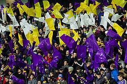 Supporters of Maribor during football match between NK Maribor and Sevilla FC (ESP) in 1st Leg of Round of 32 of UEFA Europa League 2014 on February 20, 2014 at Stadium Ljudski vrt, Maribor, Slovenia. Photo by Vid Ponikvar / Sportida
