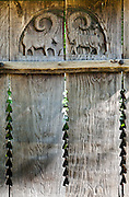 Carved rams on fence in Dimitrie Gusti National Village Museum (Muzeul Satului) in Bucharest, Romania