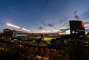 CHICAGO, IL - SEPTEMBER 23, 2015: A general wide angle interior night view of Wrigley Field before the game between the Milwaukee Brewers and the Chicago Cubs at Wrigley Field on September 23, 2015 in Chicago, Illinois. (Photo by Jean Fruth)