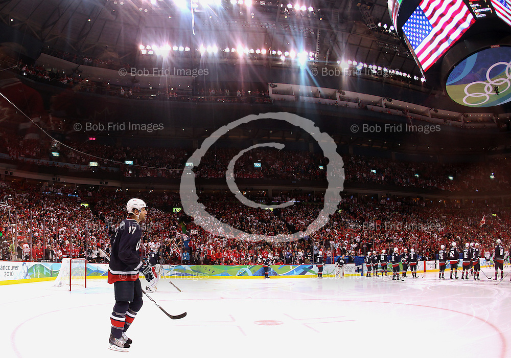 28 February 2010: USA's Ryan Kesler #17 prior to the start of the Gold medal Hockey Final between the United States and Canada during the Vancouver 2010 Winter Olympics  in Vancouver,  British Columbia, Canada..