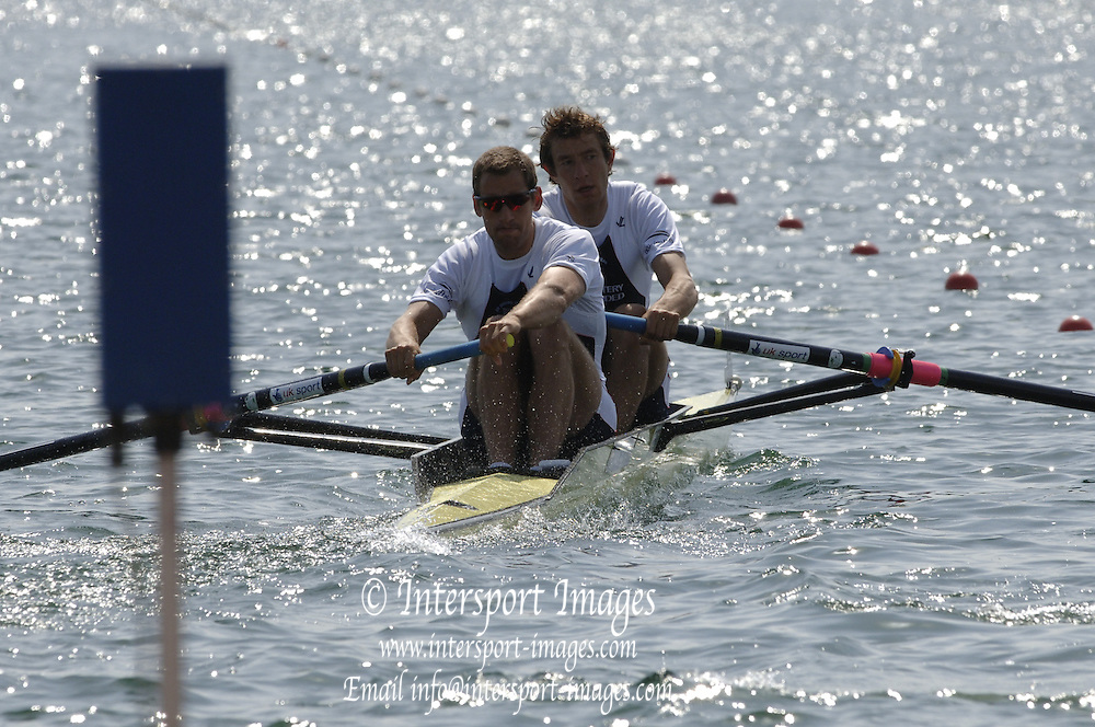 2005 FISA World Cup, Dorney Lake, Eton, ENGLAND, 27.05.05. GBR M2- Bow Josh West and Kieran West...Photo  Peter Spurrier. .email images@intersport-images....[Mandatory Credit Peter Spurrier/ Intersport Images] , Rowing Courses, Dorney Lake, Eton. ENGLAND