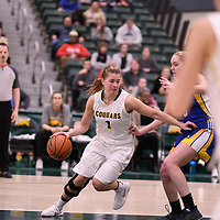 5th year forward Charlotte Kot (1) of the Regina Cougars in action during the Women's Basketball Playoff Game on February  15 at Centre for Kinesiology, Health and Sport. Credit: Arthur Ward/Arthur Images