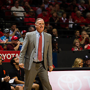 09 December 2017:  The San Diego State men's basketball team hosts the California Golden Bears Saturday afternoon. San Diego State Aztecs head coach Brian Dutcher calls in a play to his team during the first half. The Aztecs trail 39-34 at halftime.<br /> www.sdsuaztecphotos.com