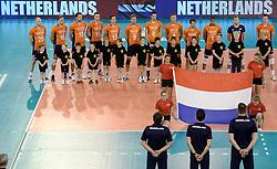 01-06-2014 NED: WLV Nederland - Zuid Korea, Eindhoven<br /> Line up bij Nationale volkslied van Nederland