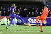 Mark Gillespie (goalkeeper) of Carlisle United FC challenges Tom Elliott of AFC Wimbledon during the Sky Bet League 2 match between AFC Wimbledon and Carlisle United at the Cherry Red Records Stadium, Kingston, England on 23 February 2016. Photo by Stuart Butcher.