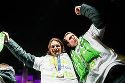 Jure Dolenec and David Miklavcic during reception of Slovenian National Handball Men team after they placed third at IHF World Handball Championship France 2017, on January 30, 2017 in Mestni trg, Ljubljana centre, Slovenia. Photo by Vid Ponikvar / Sportida