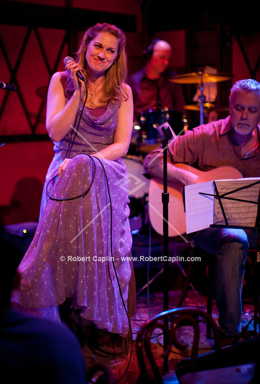"Singer, songwriter, and Broadway actor Julie Reiber performs at the Rockwood Music Hall for her ""Love Travels"" Debut Album Release Concert in New York. ..Photo by Robert Caplin"