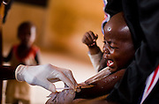 A boy cries as he gets vaccinated against meningitis at a MSF vaccination site in Tibiri, Niger on Friday April 17, 2009..