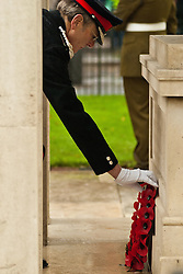 © under license to London News Pictures.  14/11/2010. Armed forces representatives place wreaths at the rememberance service held in the Old Steine, Brighton.