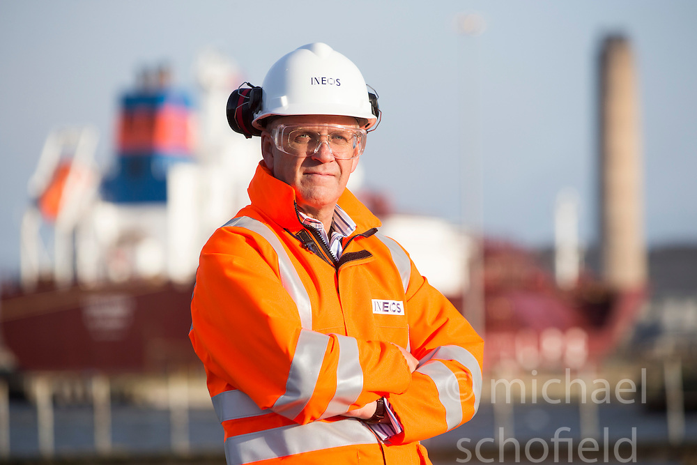 John McNally, Ineos MD, in the port area where the new jetty will be built. Grangemouth refinery. The Sun had access to the plant for a 'year on' tale (last year the plant closed following strike action - this is an update piece).
