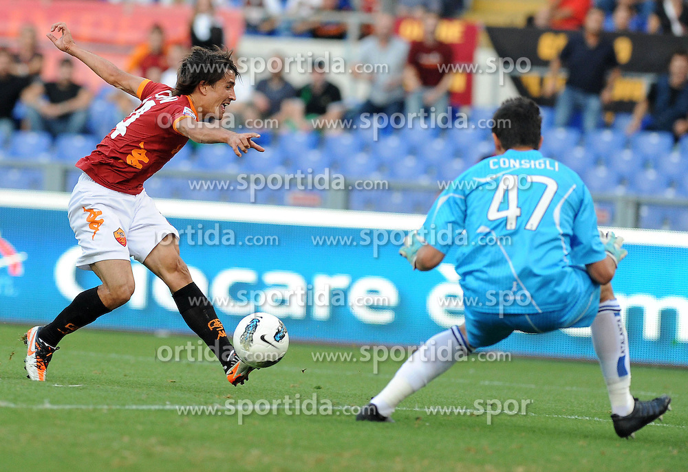 01.10.2011, Stadio Olimpico, Rom, ITA, Serie A, AS Rom vs Atalanta, im Bild bojan krkic cebrate scoring, EXPA Pictures © 2011, PhotoCredit: EXPA/ InsideFoto/ Massimo Oliva *** ATTENTION *** FOR AUSTRIA AND SLOVENIA USE ONLY!
