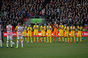 Crystal Palace stand for a mintues applase prior to kick off in memory of Gordan Banks during the The FA Cup 5th round match between Doncaster Rovers and Crystal Palace at the Keepmoat Stadium, Doncaster, England on 17 February 2019.