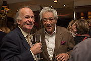 DAVID CAMPBELL; PETER MAYER, David Campbell Publisher of Everyman's Library and Champagen Bollinger celebrate the completion of the Everyman Wodehouse in 99 volumes and the 2015 Bollinger Everyman Wodehouse prize shortlist. The Archive Room, The Goring Hotel. London. 20 April 2015.