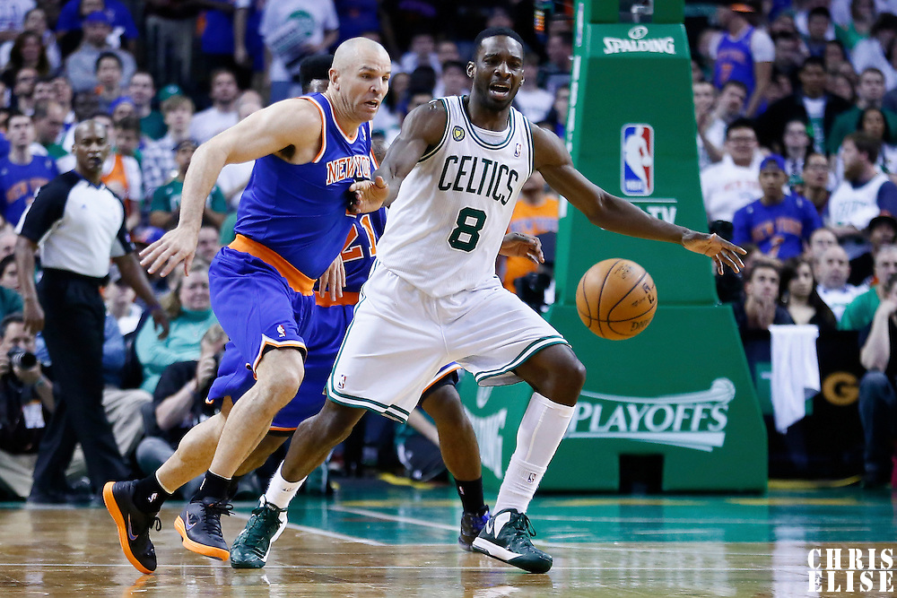 28 April 2013: New York Knicks point guard Jason Kidd (5) steals the ball from Boston Celtics power forward Jeff Green (8) during Boston Celtics 97-90 overtime victory over the New York Knicks during Game Four of the Eastern Conference Quarterfinals of the 2013 NBA Playoffs at the TD Garden, Boston, Massachusetts, USA.