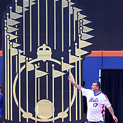 NEW YORK, NEW YORK - May 28: Keith Hernandez introduced to the crowd during the anniversary celebration of the 1986 World Championship team before the Los Angeles Dodgers Vs New York Mets regular season MLB game at Citi Field on May 28, 2016 in New York City. (Photo by Tim Clayton/Corbis via Getty Images)