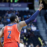 08 March 2017: Washington Wizards guard John Wall (2) celebrates during the Washington Wizards 123-113 victory over the Denver Nuggets, at the Pepsi Center, Denver, Colorado, USA.